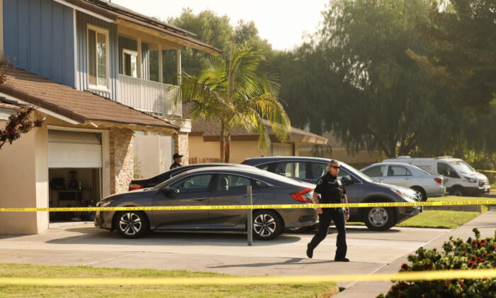 Police respond to reports of a stabbing that left two children and their father dead in Placentia, Calif., on Oct. 7, 2020. (Courtesy of the Placentia Police Department)