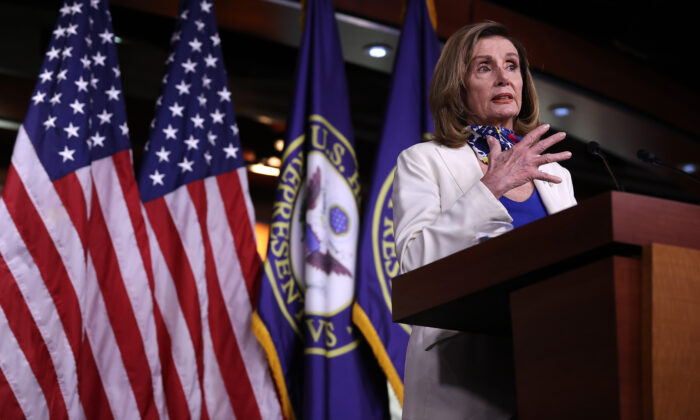 House Speaker Nancy Pelosi (D-Calif.) speaks during a press conference in Washington on Oct. 1, 2020. (Chip Somodevilla/Getty Images)