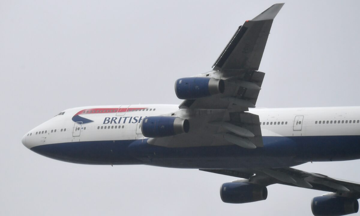 A British Airways Boeing 747 does a flypast over London Heathrow Airport (1)