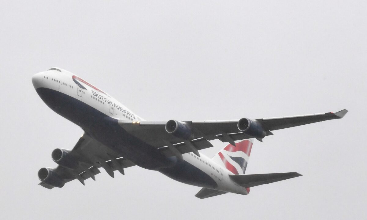 A British Airways Boeing747 does a flypast over London Heathrow Airport