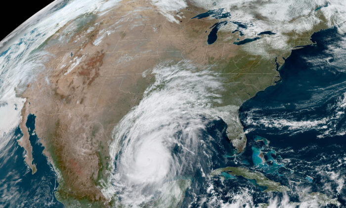 Hurricane Delta is shown in the Gulf of Mexico at 12:41 p.m. EDT., on Oct. 8, 2020. (National Oceanic and Atmospheric Administration via AP)