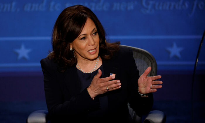 Democratic vice presidential nominee Kamala Harris speaks during the vice presidential campaign debate with Vice President Mike Pence, in Salt Lake City, Utah, on Oct. 7, 2020. (Lucy Nicholson/Reuters)