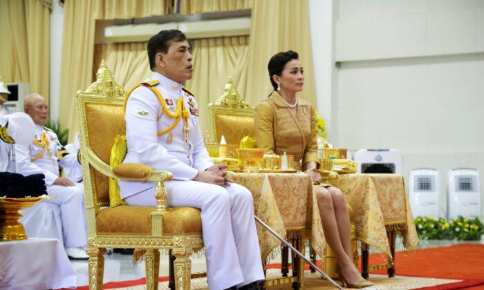 Thailand's King Maha Vajiralongkorn and Queen Suthida attend Prince Mahidol Day celebrations at the Siriraj hospital in Bangkok, Thailand, on Sept. 24, 2020. (Stringer/Reuters)