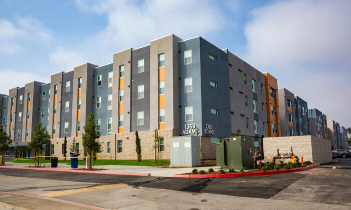 Orange Coast College's new residence hall, The Harbour, is seen from across the street in Costa Mesa, Calif., on Oct. 7, 2020. (John Fredricks/The Epoch Times)