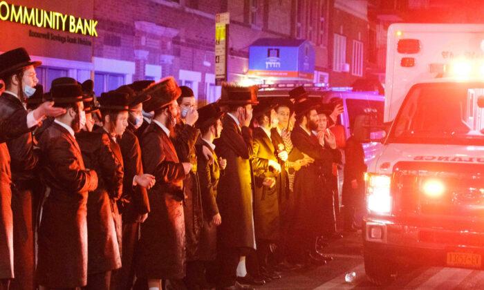 Orthodox Jews gather in the Borough Park neighborhood of Brooklyn amid the COVID-19 outbreak in New York, Oct. 7, 2020. (Yuki Iwamura/Reuters)