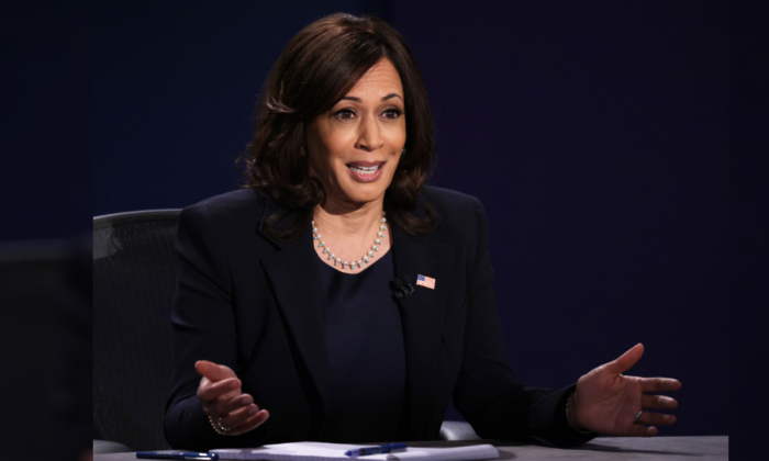Democratic vice presidential nominee Sen. Kamala Harris (D-Calif.) participates in the vice presidential debate against Vice President Mike Pence at the University of Utah in Salt Lake City, Utah, on Oct. 7, 2020. (Alex Wong/Getty Images)