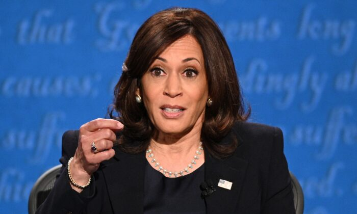Sen. Kamala Harris (D-Calif.), Democratic vice presidential nominee, gestures as she speaks during the vice presidential debate in Kingsbury Hall at the University of Utah in Salt Lake City, Utah, on Oct. 7, 2020. (Robyn Beck/AFP via Getty Images)