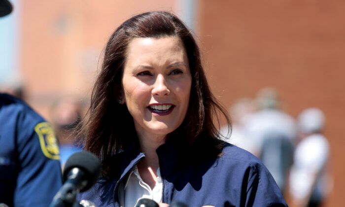 Michigan Gov. Gretchen Whitmer addresses the media in Midland, Mich., on May 20, 2020. (Rebecca Cook/Reuters)