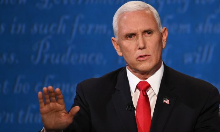 Vice President Mike Pence speaks during the vice presidential debate in Kingsbury Hall at the University of Utah in Salt Lake City, Utah, on Oct. 7, 2020. (Eric Baradat/AFP via Getty Images)
