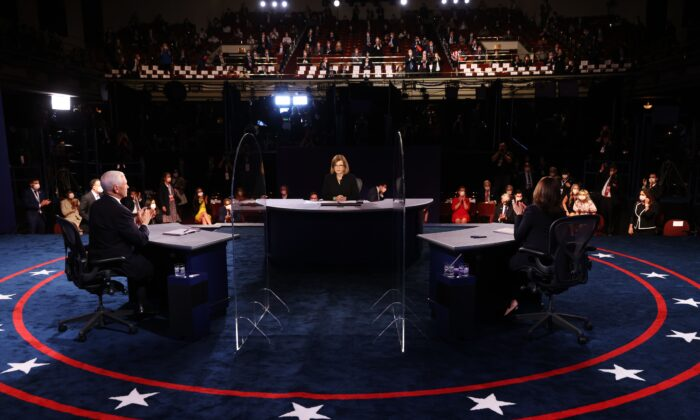 From left to right, Vice President Mike Pence, moderator Susan Page, and Democratic vice presidential nominee Kamala Harris take part in a debate in Salt Lake City on Oct. 7, 2020. (Justin Sullivan/Pool/AFP via Getty Images)