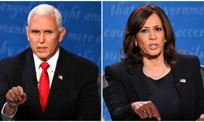 (L) U.S. Vice President Mike Pence speaks during the vice presidential debate in Kingsbury Hall at the University of Utah on Oct. 7, 2020, in Salt Lake City, Utah. (Eric Baradat/AFP via Getty Images)