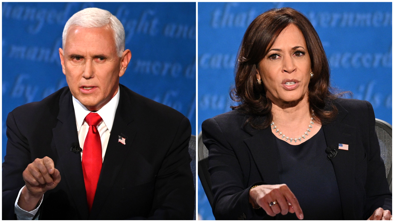 Mike Pence and Kamala Harris speak