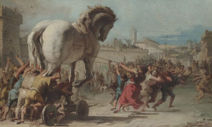 """""""The Procession of the Trojan Horse in Troy,"""" circa 1760, by Giovanni Tiepolo. Oil on canvas, 15.3 inches by 26.3 inches. National Gallery in London. (Public Domain)"""