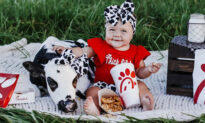 Baby and Rescued Calf in Matching Bows Pose for Cute Chick-fil-A-Themed Photoshoot