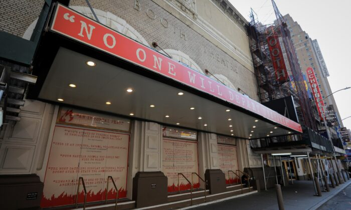The shuttered Booth Theatre is pictured after industry group the Broadway League said Broadway theaters will remain closed through January 3, 2021, in New York City, on July 2, 2020. (Mike Segar/Reuters)