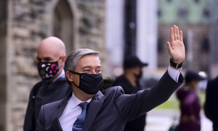 Minister of Foreign Affairs Francois-Philippe Champagne arrives to the Parliament Hill in Ottawa, on Oct. 5, 2020. (The Canadian Press/Sean Kilpatrick)