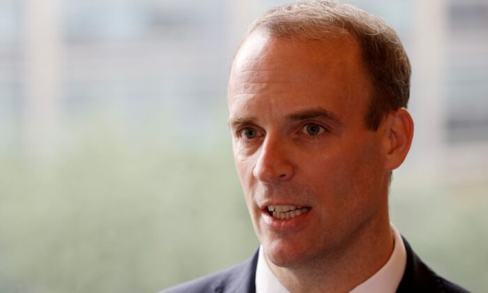 Britain's Foreign Secretary Dominic Raab speaks during an interview with Reuters in Seoul, South Korea, on Sep. 29, 2020. (Kim Hong-Ji/Reuters)