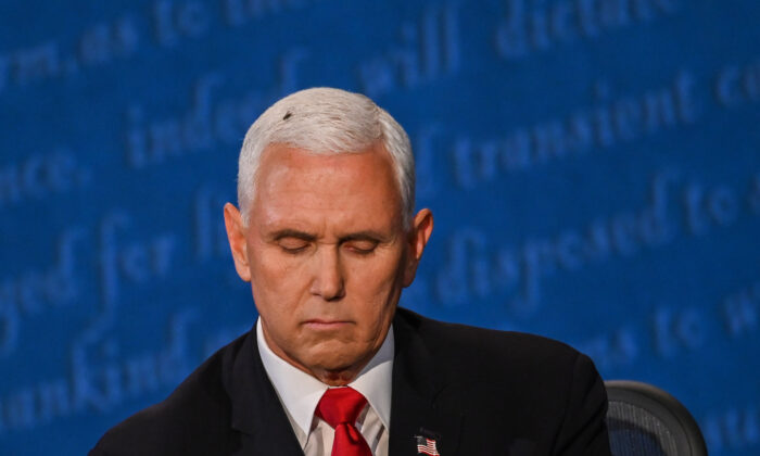A fly rests on the head of Vice President Mike Pence as he takes notes during the vice presidential debate against Democratic vice presidential nominee and Senator from California Kamala Harris in Kingsbury Hall at the University of Utah in Salt Lake City, Utah on Oct. 7, 2020. (Eric Baradat/AFP via Getty Images)