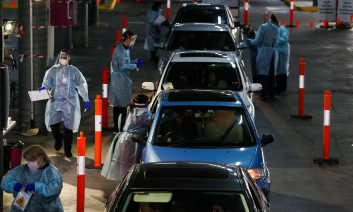 A general view of a drive through Covid-19 testing site at a shopping centre carpark in a hotspot suburb in Melbourne, Australia on July 4, 2020. (Asanka Ratnayake/Getty Images)