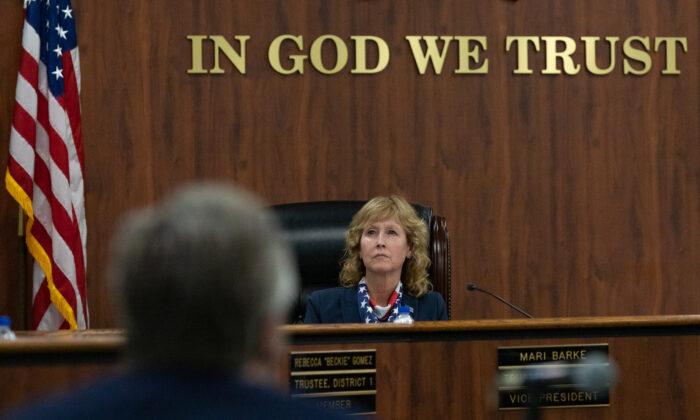 Trustee Mari Barke sits in an Orange County Board of Education meeting in Costa Mesa, Calif., on Oct. 7, 2020. (John Fredricks/The Epoch Times)