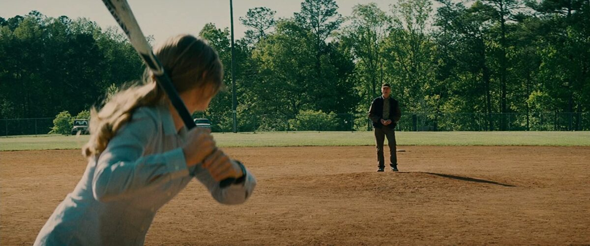 "father pitches baseball to daughter in ""Troube with the Curve"""