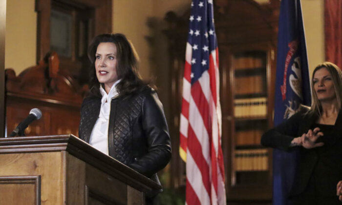 Michigan Gov. Gretchen Whitmer addresses the state during a speech in Lansing, Mich., Oct. 8, 2020. (Michigan Office of the Governor via AP)