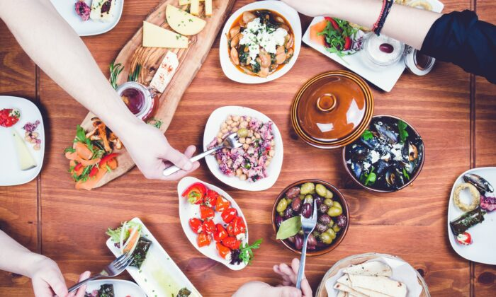 Greeks start every meal with a copious spread of meze, shareable starters, from creamy dips and spreads to grilled seafood and vegetables. (Von T Glendinning Photography)