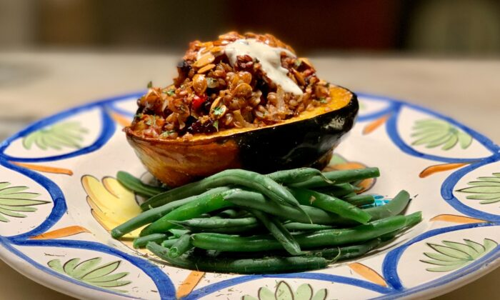 Stuffed, baked, and finished with a cooling yogurt sauce, acorn squash makes a hearty, well rounded autumn meal. (Cardinale Montano)