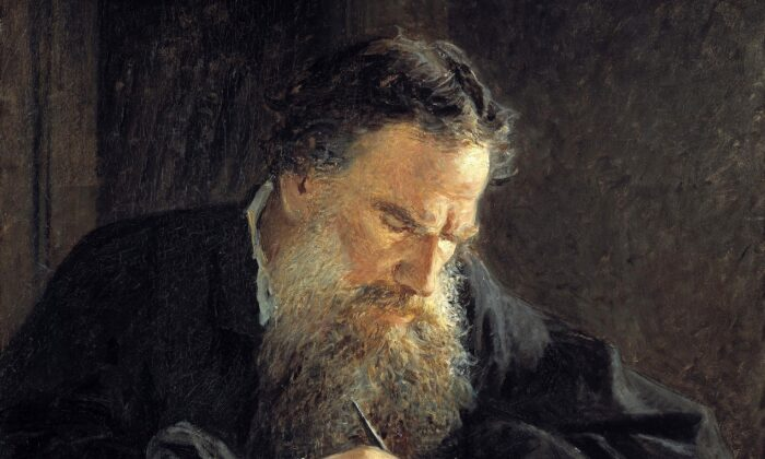 A close-up of the portrait of Leo Tolstoy, 1882, by Nikolai Ge. (Public Domain)