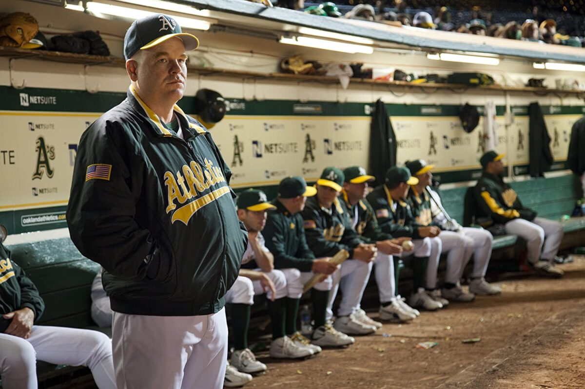 """Oakland A's manager and team in locker room in """"Moneyball"""""""