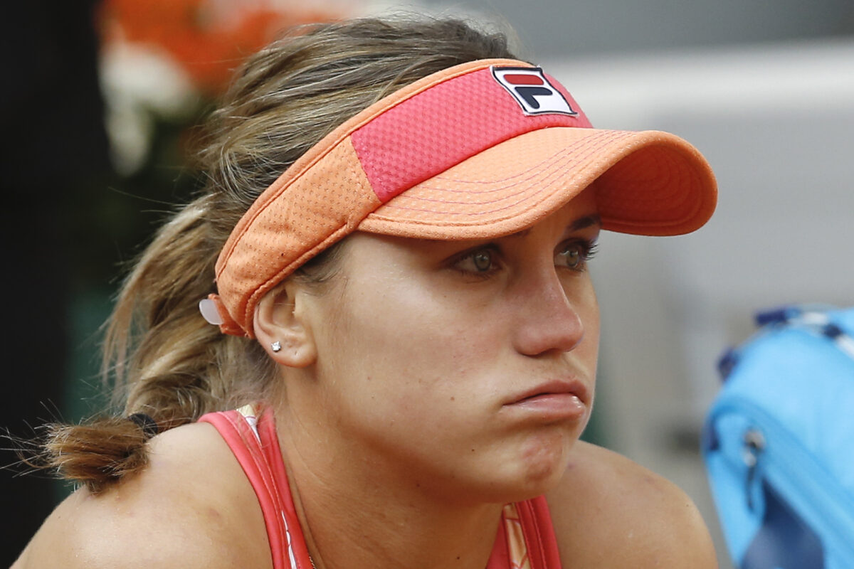 Sofia Kenin reacts to losing