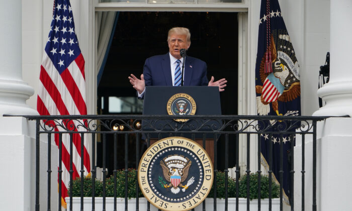 President Donald Trump speaks about law and order from the South Portico of the White House in Washington on Oct. 10, 2020. (Mandel Ngan/AFP via Getty Images)