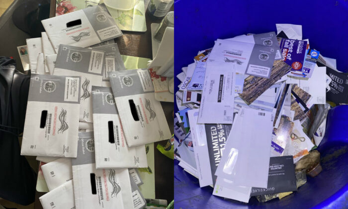 Discarded ballots and mail found in trash receptacles Santa Monica, Calif., Oct. 8, 2020. (Courtesy of Osvaldo Jiménez)