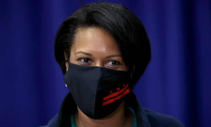 Washington Mayor Muriel Bowser attends a press conference at Gonzaga High School in Washington on June 10, 2020. (Win McNamee/Getty Images)