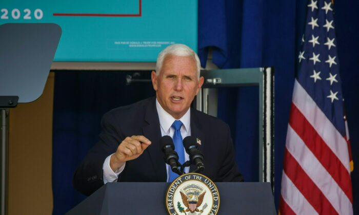 Vice President Mike Pence addresses a rally in Orlando, Fla., on Oct. 10, 2020. (Zak Bennett/AFP via Getty Images)