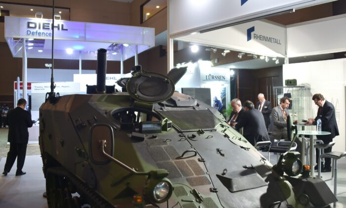 The Wiesel 2 armoured vehicle, developed by Rheinmetall Defence displayed during the 2014 Indo Defence exhibition in Jakarta on Nov. 7, 2014. (BAY ISMOYO/AFP via Getty Images)
