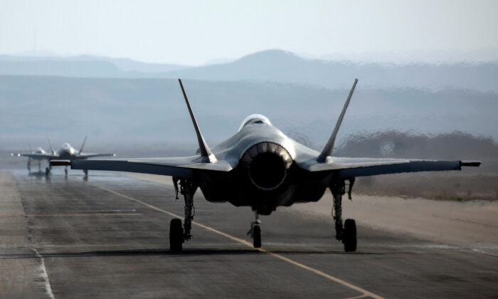 """An Israeli F-35 aircraft is seen on the runway during """"Blue Flag,"""" an aerial exercise hosted by Israel with the participation of foreign air force crews, at Ovda military air base, southern Israel, on Nov. 11, 2019. (Amir Cohen/Reuters, File Photo)"""