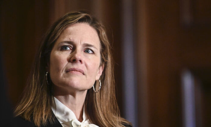 Judge Amy Coney Barrett on Capitol Hill in Washington on Oct. 1, 2020. (Erin Scott-Pool/Getty Images)
