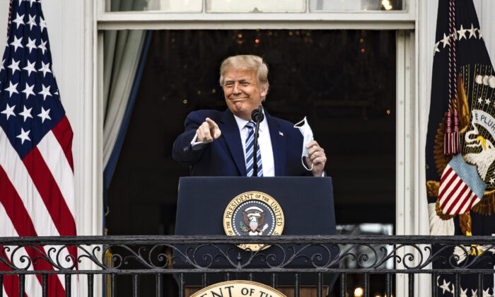 President Donald Trump addresses a rally in support of law and order on the South Lawn of the White House in Washington, on Oct. 10, 2020. (Samuel Corum/Getty Images)