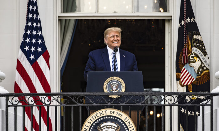 President Donald Trump addresses a rally in support of law and order on the South Lawn of the White House in Washington on Oct. 10, 2020. (Samuel Corum/Getty Images)
