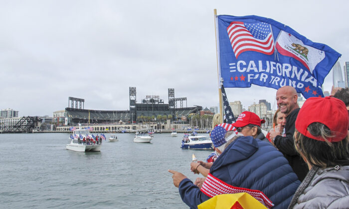 A boat parade in support of President Donald Trump starts at McCovey Cove by Oracle Park in San Francisco, Calif., on Oct. 10, 2020. (Ilene Eng/The Epoch Times)