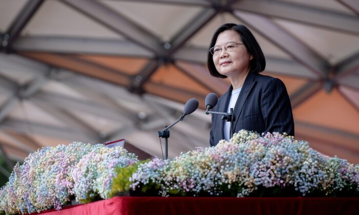 Taiwan President Tsai Ing-wen speaks during the National Day in front of the Presidential Office in Taipei, Taiwan, on Oct. 10, 2020. (Taiwan's Presidential Office)