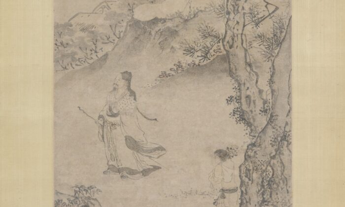 A detail from an ink-wash landscape painting, in which artist Du Jin portrays poet Tao Yuanming strolling through the mountains and admiring the chrysanthemum blossoms. The Metropolitan Museum of Art. (Public Domain)