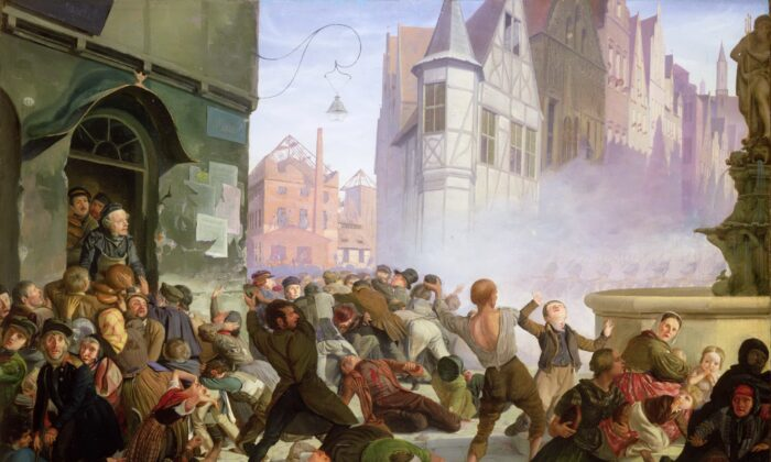 "The Associated Press recently stated that we should use a euphemism instead of the word ""riot"" to describe the terror in our cities nationwide. ""The Riot"" by Philip Hoyoll. Private Collection. (Public Domain)"