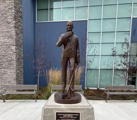 A statue dedicated to Humboldt Broncos coach Darcy Haugan is seen in Peace River, Alta., on Oct. 11, 2020. (The Canadian Press/HO-Albert Cooper)