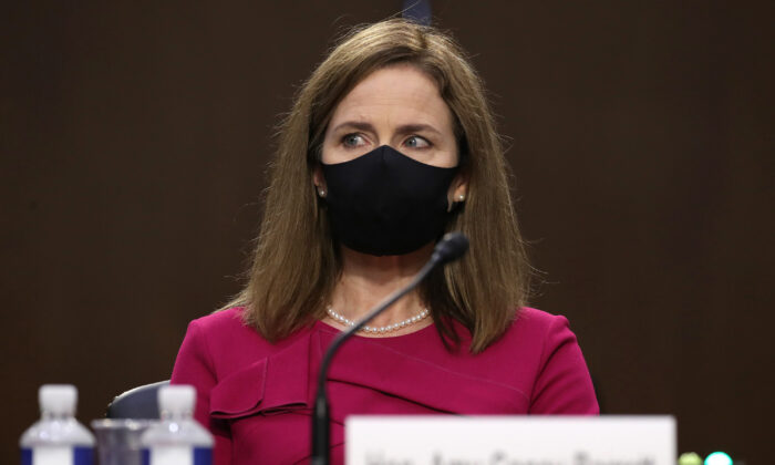 Supreme Court nominee Judge Amy Coney Barrett attends her Senate Judiciary Committee confirmation hearing on Capitol Hill in Washington on Oct. 12, 2020. (Win McNamee/Getty Images)