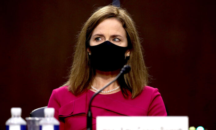 Supreme Court nominee Judge Amy Coney Barrett attends her Senate Judiciary Committee confirmation hearing on Capitol Hill in Washington, on Oct. 12, 2020. (Win McNamee/Getty Images)