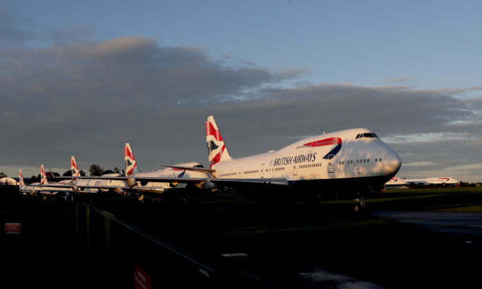 Retired British Airways Boeing 747-400 parked at Cotsworld Airport in Kemble, England, on Oct. 11, 2020.(Frank Augstein/AP Photo)