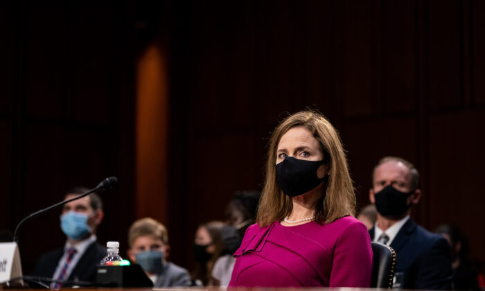 Supreme Court Justice nominee Judge Amy Coney Barrett listens during the Senate Judiciary Committee confirmation hearing for Supreme Court Justice in the Hart Senate Office Building in Washington on Oct. 12, 2020. (Erin Schaff-Pool/Getty Images)
