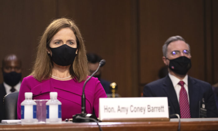 Supreme Court Justice nominee Judge Amy Coney Barrett participates in her Senate Judiciary Committee confirmation hearing for Supreme Court Justice in the Hart Senate Office Building in Washington, on Oct. 12, 2020. (Shawn Thew-Pool/Getty Images)